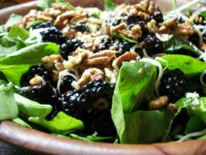 Balsamic Blackberry and Pecan Spinach Salad