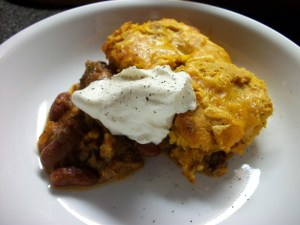 Chili Bake with Pumpkin Pecan Cornbread Topping