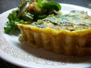 Spinach Bacon Quiche with Sweet Potato Pie Shell
